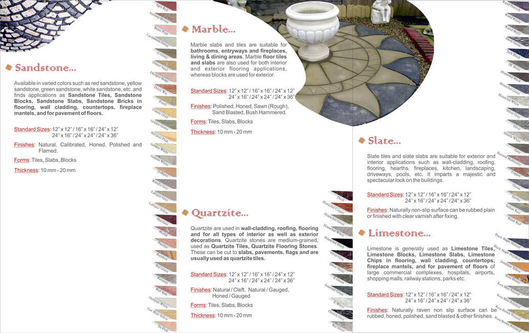 Three-fold Brochure Inner Side Design for Stone Wholesaler - India Craft INTL