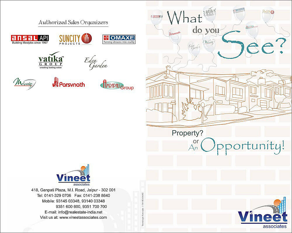 Real Estate Brochure Design Front and Back - Vineet Associates