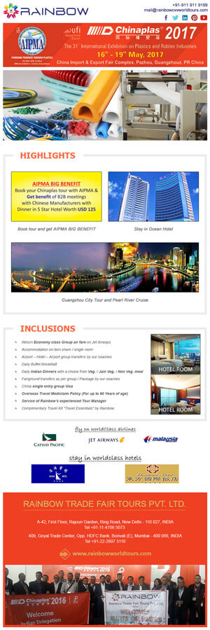 Emailer Design for ChinaPlast Event - Rainbow Tours and Travels