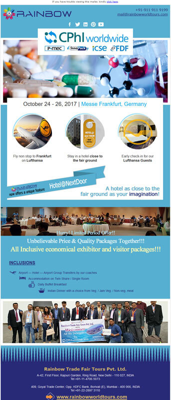 Emailer Design for CPHI Event - Rainbow Tours and Travels