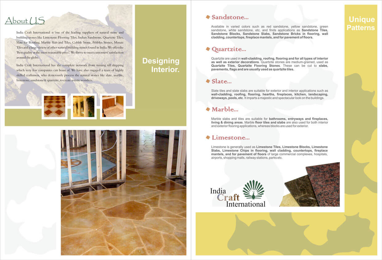 Stone Wholesaler Folder Design Inner Side - India Craft INTL