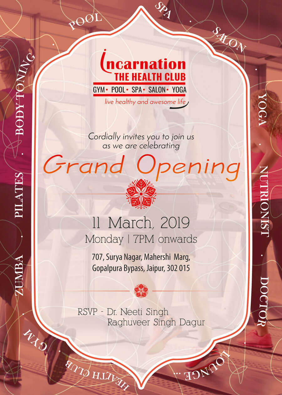 Invitation Card of Grand Opening of Incarnation - The Health Club